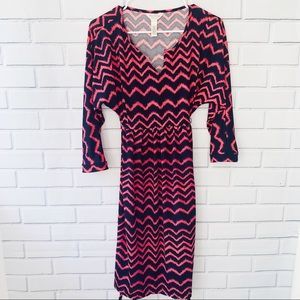 Three Seasons Maternity Pink and Navy Blue Stress